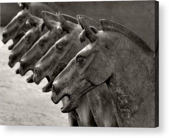 Terracotta Acrylic Print featuring the photograph Terracotta Horses by Joe Bonita