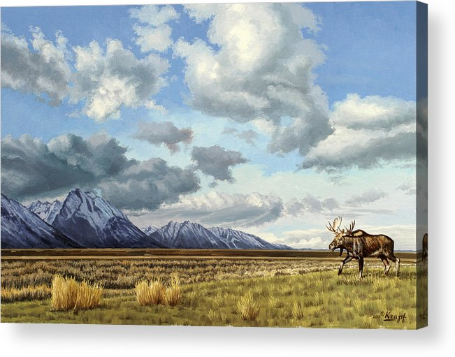 Teton National Park Acrylic Print featuring the painting Tetons-Moose by Paul Krapf