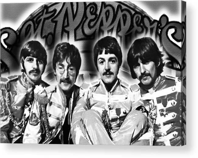 The Beatles Acrylic Print featuring the painting The Beatles Sgt. Pepper's Lonely Hearts Club Band Painting And Logo 1967 Black And White by Tony Rubino
