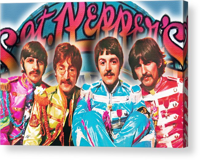 The Beatles Acrylic Print featuring the painting The Beatles Sgt. Pepper's Lonely Hearts Club Band Painting And Logo 1967 Color by Tony Rubino