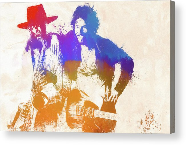 Bruce And The Big Man Acrylic Print featuring the painting The Boss And The Big Man by Dan Sproul