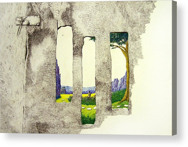 Imaginary Landscape. Acrylic Print featuring the painting The Garden by A Robert Malcom