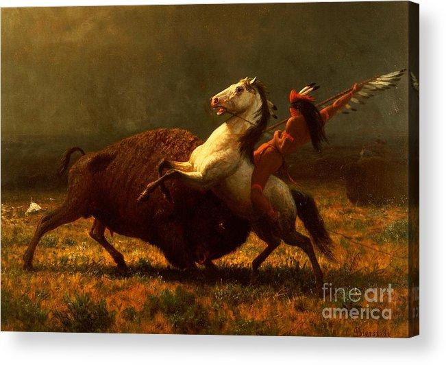 Albert Bierstadt Acrylic Print featuring the painting The Last of the Buffalo by Albert Bierstadt