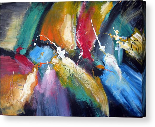 Abstract Colorfull Energetic Modern Contemporary Enlightening Acrylic Print featuring the painting The Night Queen by Dan Bunea