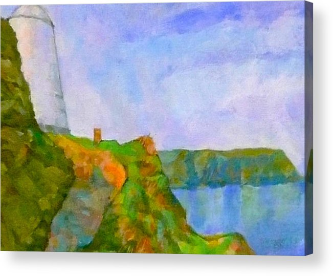 Pepper Pot Portreath Cornwall Acrylic Print featuring the digital art The Pepper Pot by Scott Waters