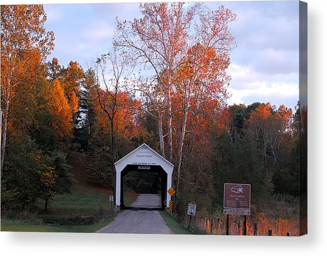 Landscape Acrylic Print featuring the photograph The Phillips Covered Bridge by John McAllister