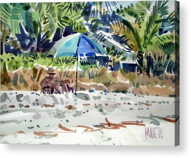 Sunbathing Acrylic Print featuring the painting The Sun Bather by Donald Maier