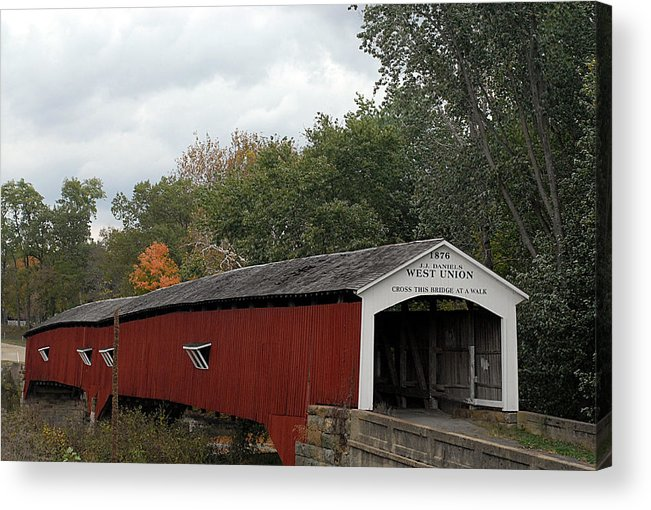 Landscape Acrylic Print featuring the photograph The West Union Covered Bridge by John McAllister