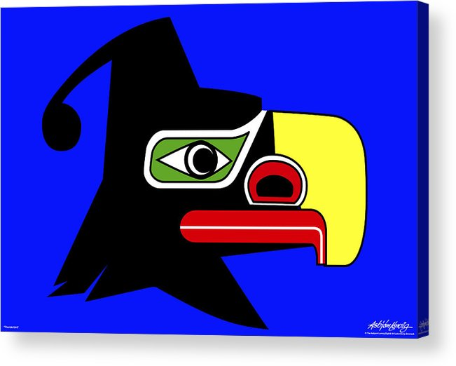 Thunderbird Acrylic Print featuring the painting Thunderbird by Asbjorn Lonvig