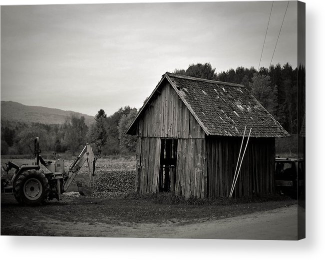 Tractor Acrylic Print featuring the photograph Tractor and Shed by Mandy Wiltse