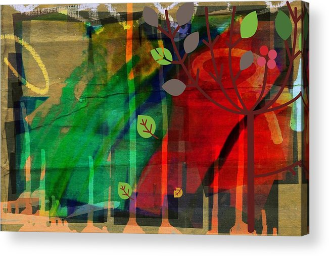 Abstract Color Acrylic Print featuring the digital art Tree and a skewed rainbow by Joseph Ferguson