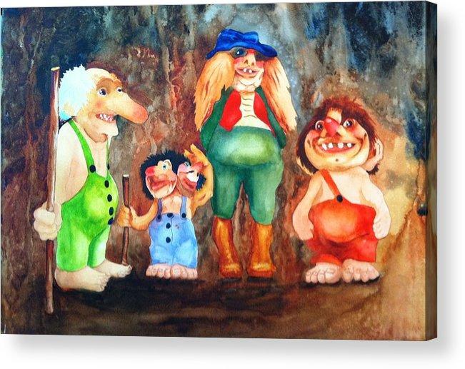 Trolls Acrylic Print featuring the painting Trolls by Karen Stark