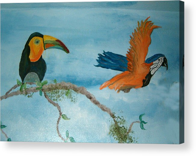 Tropical Birds Acrylic Print featuring the painting Tropical Birds by Mikki Alhart