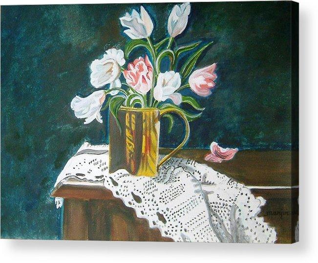 Tulips Acrylic Print featuring the painting Tulips by Manjiri Kanvinde