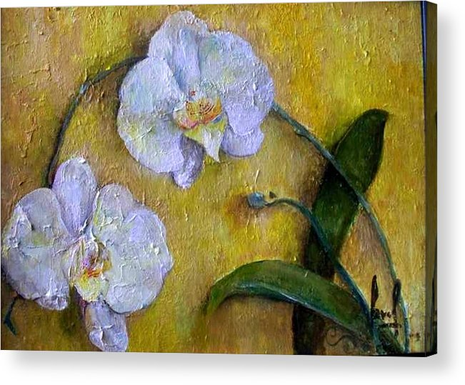 Acrylic Print featuring the painting Two White Orchids by Carol P Kingsley