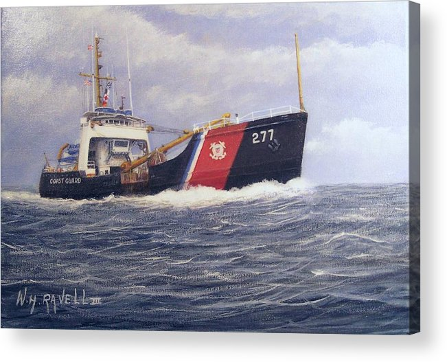 Seascape Acrylic Print featuring the painting U. S. Coast Guard Buoy Tender by William Ravell