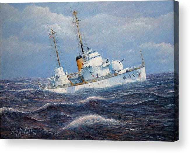 Marine Art Acrylic Print featuring the painting U. S. Coast Guard Cutter Sebago Takes a Roll by William Ravell