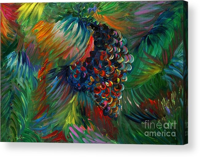 Grapes Acrylic Print featuring the painting Vibrant Grapes by Nadine Rippelmeyer