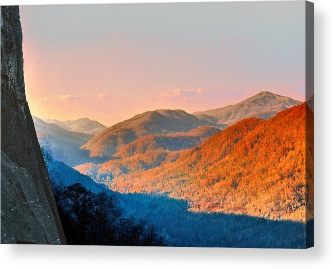 Landscape Acrylic Print featuring the mixed media View from Chimney Rock-North Carolina by Steve Karol