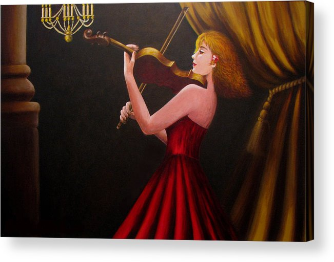 Oil Acrylic Print featuring the painting Violinist by Anh T Chau