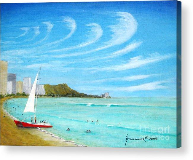 Waikiki Acrylic Print featuring the painting Waikiki by Jerome Stumphauzer