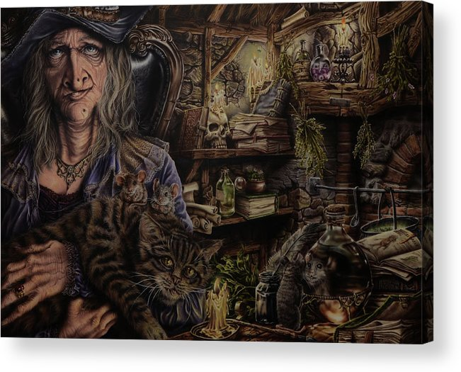 Fantasy Acrylic Print featuring the painting Which witch is which by Robert Haasdijk