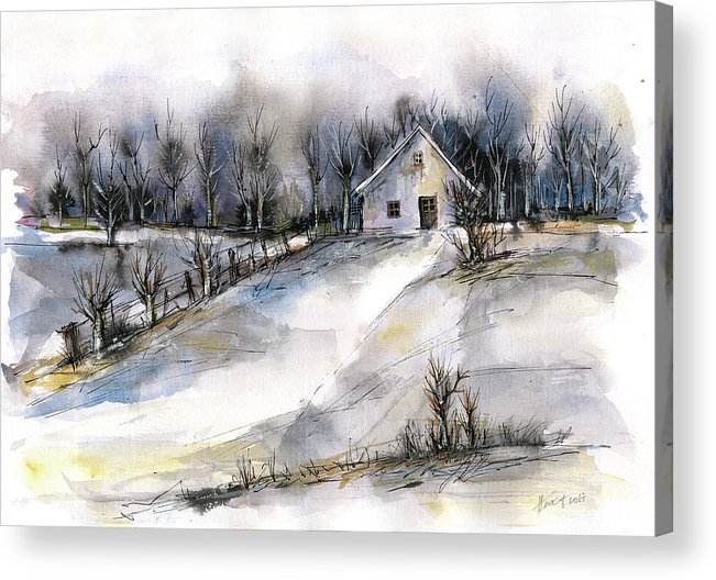 Abstract Landscape Acrylic Print featuring the painting Winter tale by Aniko Hencz