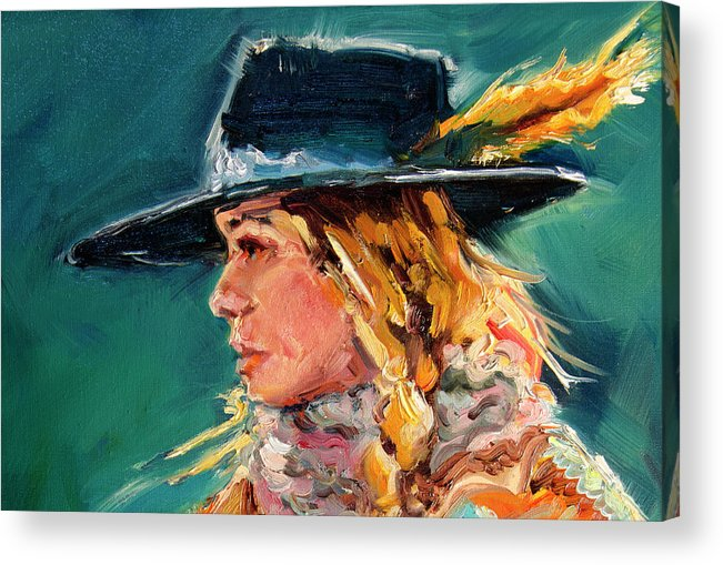 Cowgirl Acrylic Print featuring the painting Wyoming Cowgirl Close by Diane Whitehead