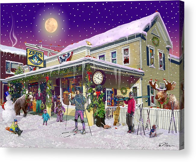 Zebs General Store Acrylic Print featuring the digital art Zebs General Store in North Conway New Hampshire by Nancy Griswold