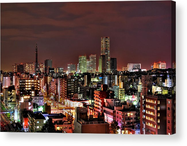 Tranquility Acrylic Print featuring the photograph Yokohama Nightscape by Copyright Artem Vorobiev