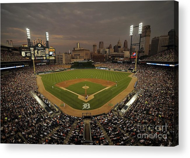 American League Baseball Acrylic Print featuring the photograph Cleveland Indians V Detroit Tigers by Mark Cunningham