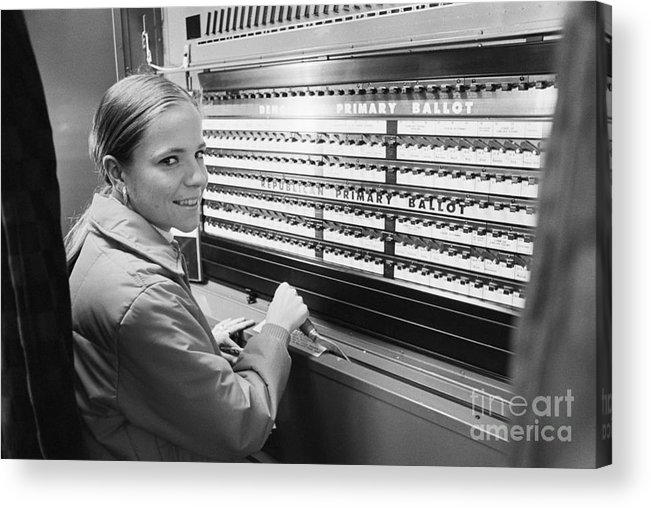 Polling Place Acrylic Print featuring the photograph 19-year-old Voting For The First Time by Bettmann
