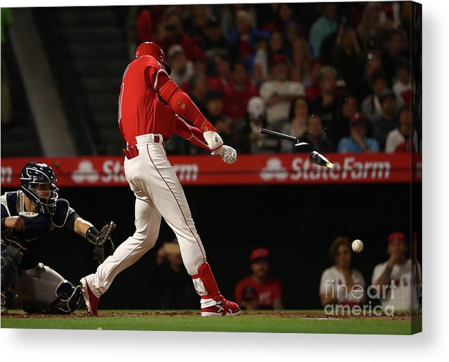 People Acrylic Print featuring the photograph New York Yankees V Los Angeles Angels by Victor Decolongon