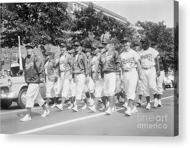 1950-1959 Acrylic Print featuring the photograph Brooklyn Dodgers by Kidwiler Collection