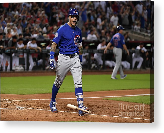 People Acrylic Print featuring the photograph Chicago Cubs V Arizona Diamondbacks by Norm Hall