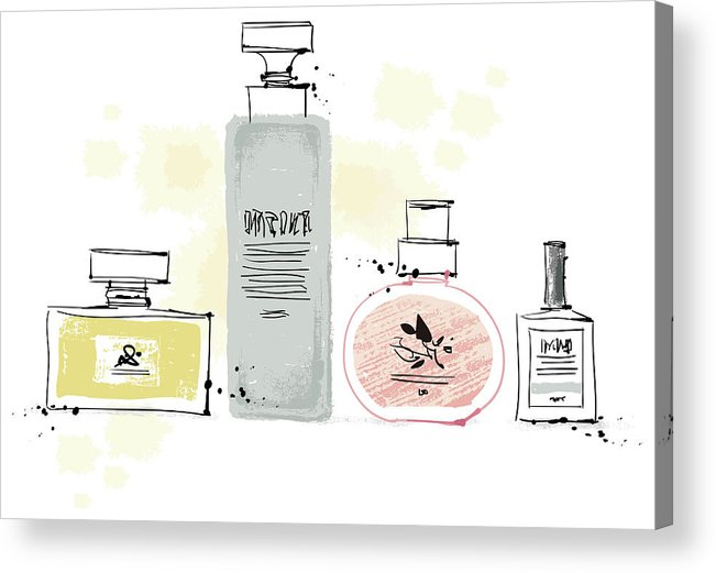 White Background Acrylic Print featuring the digital art Cosmetics by Eastnine Inc.