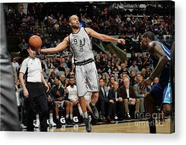 Nba Pro Basketball Acrylic Print featuring the photograph Charlotte Hornets V San Antonio Spurs by Mark Sobhani
