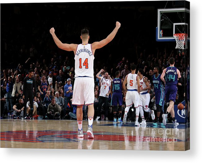 Guillermo Hernangómez Geuer Acrylic Print featuring the photograph Charlotte Hornets V New York Knicks by Nathaniel S. Butler