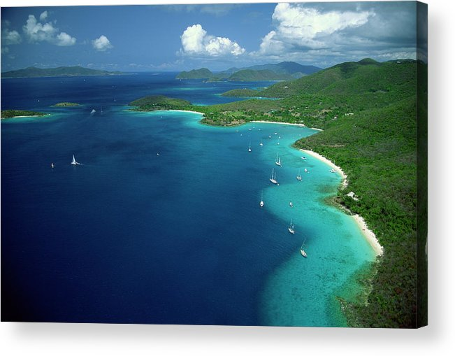Sailboat Acrylic Print featuring the photograph Aerial View Of Shoreline by Don Hebert