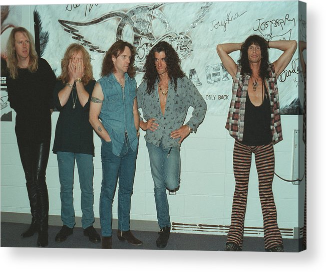 Tom Hamilton Acrylic Print featuring the photograph Aerosmith Backstage Portrait by Jim Steinfeldt