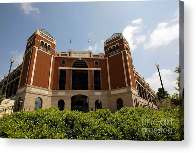 American League Baseball Acrylic Print featuring the photograph Ameriquest And Texas Rangers Strike by Ronald Martinez
