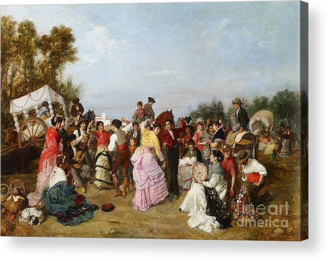 Oil Painting Acrylic Print featuring the drawing At The Torrijos Pilgrimage. Artist by Heritage Images