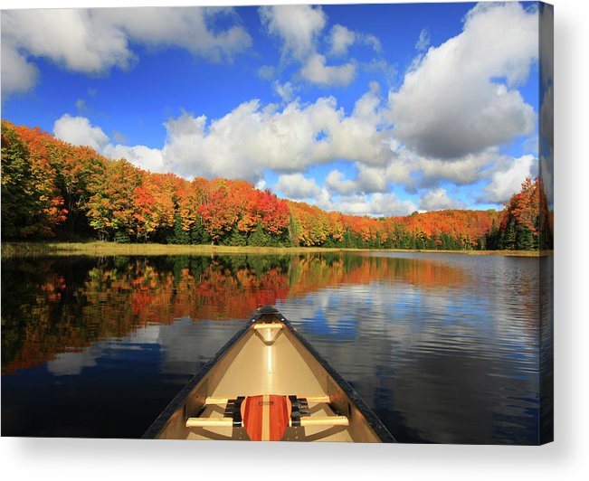 Scenics Acrylic Print featuring the photograph Autumn In A Canoe by Photos By Michael Crowley