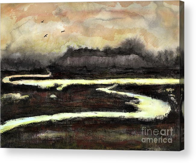Evening Acrylic Print featuring the painting Back Bay by Randy Sprout