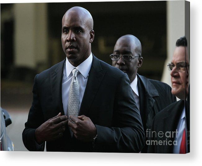 California Acrylic Print featuring the photograph Barry Bonds Perjury Trial Begins In San by Justin Sullivan
