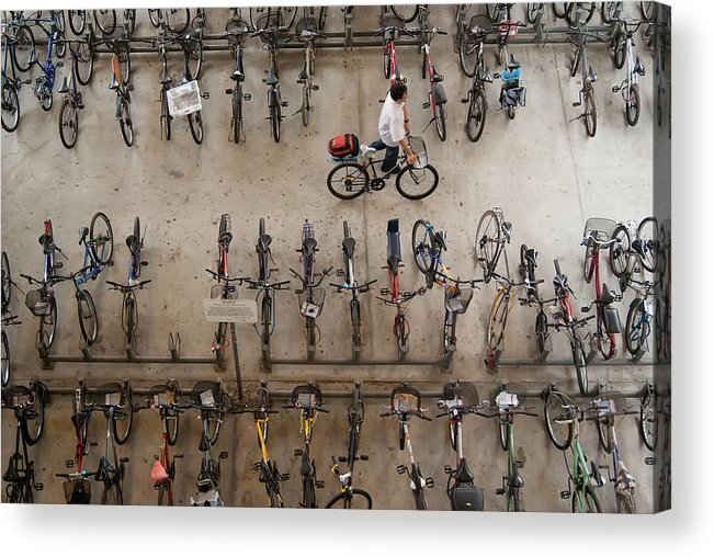 People Acrylic Print featuring the photograph Bicycle Park At Boon Lay Mrt Station by Kokkai Ng