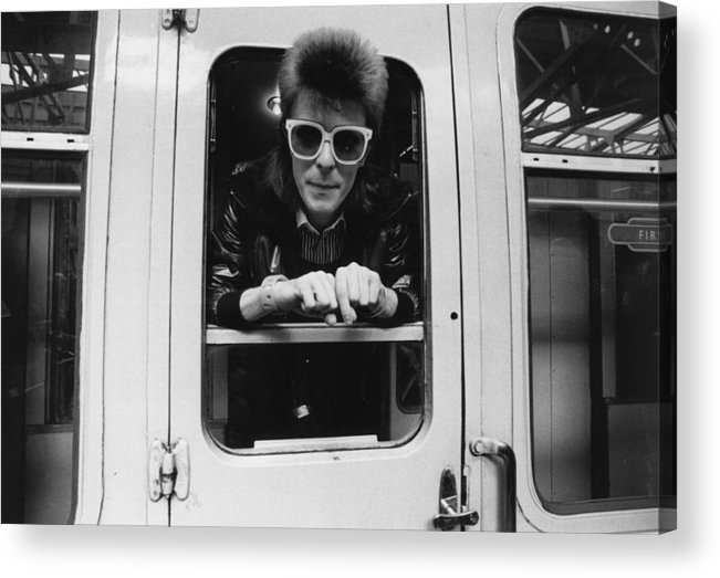 David Bowie Acrylic Print featuring the photograph Bowie On The Rails by Smith