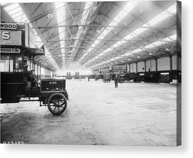 Engine Acrylic Print featuring the photograph Bus Garage by Hulton Archive