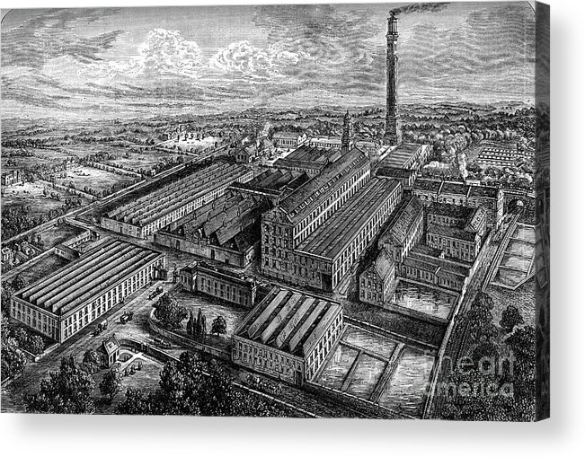 Working Acrylic Print featuring the drawing Camperdown Linen Works, Dundee, C1880 by Print Collector