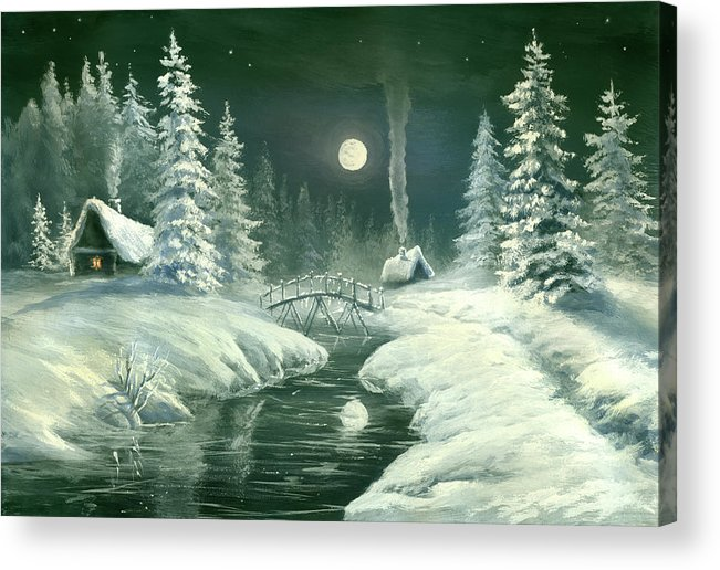 Art Acrylic Print featuring the digital art Christmas Night In The Country by Pobytov